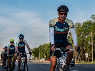 Scott McDonald leads the cyclists riding on the highway during Bike to the Beach 2020