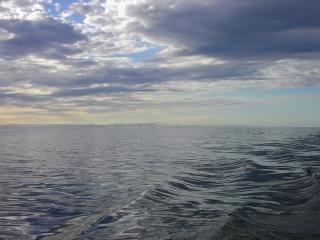 Waves on Lake Winnipeg under a cloudy sky