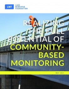 """Man samples water from a bridge, text overlay saying """"realizing the full potential of community-based monitoring"""""""