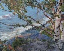 Painting of a tree overlooking Lake Winnipeg
