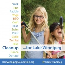 a graphic with text of fundraising activities for Lake Winnipeg with a photo of two young girls cleaning up garbage