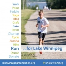 a graphic with text of fundraising activities for Lake Winnipeg with a photo of a young boy running