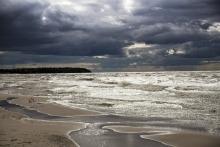 A cloudy Grand Beach, overlooking Lake Winnipeg