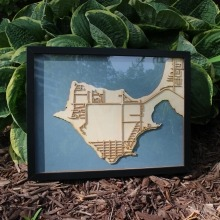 A map of Victoria Beach made out of laser cut wood.
