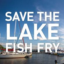 Save the Lake Fish Fry text with picture of Gimli Harbour
