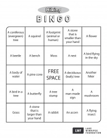 A bingo sheet with things you can find while on a hike.